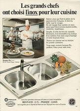 Publicité 1981 BENTHOR CTI FRANKE LUWA évier en INOX choisi par Jacques Pic