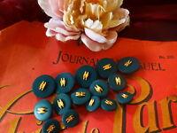 Lot de boutons neufs ,haute couture,,,, vert bronze ,dorure 15piéces