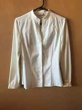 7f0779a33 AKRIS PUNTO White Cotton Blend Long Sleeve Button Front Blouse Shirt Top  Size 6