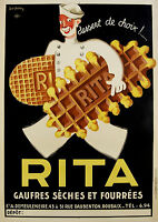 Paper Print Poster  Vintage Advert  Art deco Rita Waffles  Canvas Framed