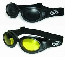 2 Motorcycle Padded & Vented Goggles-Sun Glasses-Smoked & Yellow Lenses