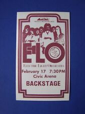 Elo Electric Light Orchestra Vintage Original 1970's Brown Cloth Backstage Pass