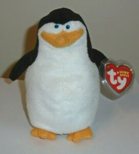 Ty SKIPPER the Penguin Beanie Baby - MADAGASCAR EXCLUSIVE - MINT with MINT TAGS