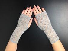 Elegant 100% Pure cashmere lace fingerless gloves.col. Light Grey