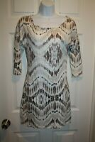 Express Women's Dress Size X-Small Fitted Brown Ivory Black 3/4 Sleeve