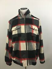 6e0e9f9c5e5 Torrid Plaid Wool Bomber Jacket Coat Fur Collar Black Black Read White