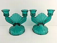 Jeanette Green Ultra Marine Pair (2) Double Candlestick Holders