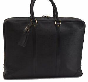 Auth Louis Vuitton Epi Porte Documents Voyage Briefcase Black M54472 LV B6860