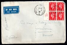 More details for gb kgvi 1988 airmail 1d control block unusual french franking ws10259