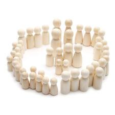 More details for 50pcs unfinished wooden peg dolls premium quality people shapes natural wood peg
