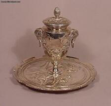 Elkington English Antique Birmingham Silver Plated Inkwell with Cherubs