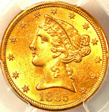 1885-S $5 MS63 PCGS, ONLY 606 IN HIGHER GRADES, LIBERTY HEAD HALF EAGLE