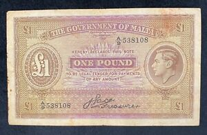 Government of Malta Banknote 1 One Pound Signed Pace SAID 12