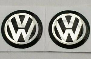 2 x 14mm 3D Epoxy Gel Resin Black VW Key Fob Remote Logo Badge Sticker Emblem