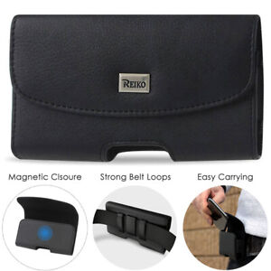 """Reiko Horizontal Leather Protective Phone Pouch Holder with Belt Clip (5.6x2.8"""")"""