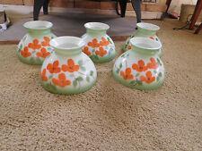 5  Handpainted Orange Poppies Oil Lamps GWTW Hurricane Shades~ Pole Lamp VTG.