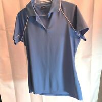 Slazenger Womens Sz S Polo SHirt Top Blue Short Sleeve 100% Polyester