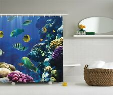 Under Water Ocean Beach Tropical Coral Reef Fish Fabric Shower Curtain