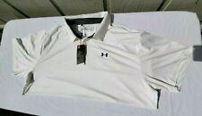 Under Armour Men's Size 4XL Heather White Heatgear Loose Golf Polo Shirt