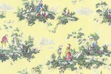 Wallpaper Designer French Country Garden Toile Multi Color on Butter Yellow