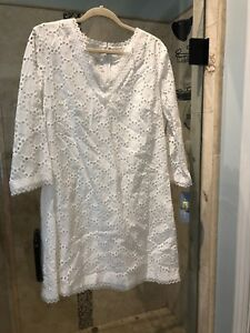 New Nwt London Times White Long Sleeve Eyelet Lace Fully Lined Dress Size 14