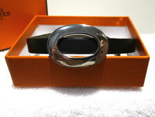 AUTHENTIC HERMES BEAUTIFUL SILVER TONE / LEATHER CHOKER / NECKLACE *RARE*