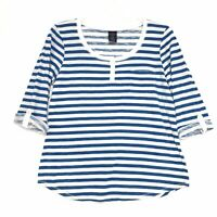 Faded Glory 3/4 Tab Sleeve Henley Tee T Shirt Sz L 12 14 Blue White Slub Cotton