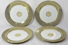 Ciroa Luxe Lattis Gold Metallic Accent Porcelain Dinner Plates Set of 4 New