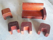 Lot of Vintage 1940s Dollhouse Furniture Pieces Wood Sofa and 4 End Tables