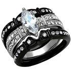 2.50 Ct Marquise Cut Cz Black Stainless Steel Wedding Ring Set Women