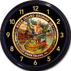 Rock Island Rock Island IL Beer Tray Wall Clock Ale Lager Canoe Railroad Train