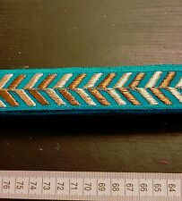 1m 27mm teal jacquard embroidered ribbon lace applique trimming decor