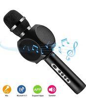 Wireless Microphone Bluetooth Karaoke Speaker Handheld Mic USB Player (Black)