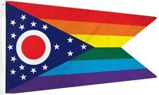 Ohio Rainbow Flag 3x5 ft Gay Lesbian  LGBTQ OH State