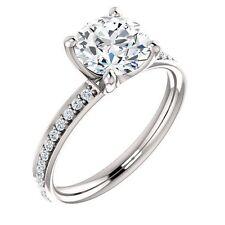 1 carat Round Diamond Engagement  14K White Gold Ring 0.80 ct H-SI2 center