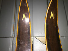 Vintage Madshus Cross Country Wooden Skis with Poles RARE HTF Metal Bindings