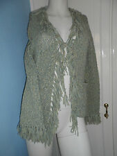 Per una ladies warm green cardigan with pockets & fringing  size med