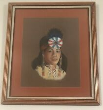 Gorgeous pastel painting of a young Native American in traditional headgear.