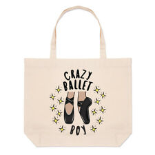Crazy Ballet Boy Stars Large Beach Tote Bag Ballerina Dancing Funny