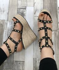 Black Studded Wedges Size 6 Faux Leather Caged Espadrilles Strappy Gold