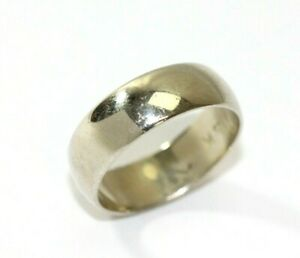 Vintage 14K WHITE GOLD Mens Plain Wide Band Wedding Ring: Size 9, 5.9 Grams