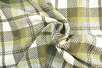 WOOL & CASHMERE GREEN &IVORY BOLD CHECK HEAVY LUXURY QUALITY MADE IN ITALY   A14