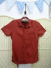 CHEVIGNON linen brown straight shirt  short sleeved mans brick red casual top S