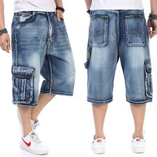 Mens Jeans Shorts Relaxed Fit Capri Pants Cargo Baggie Shorts Baggy Plus Size