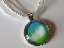 Silver Plated Blue Green White Feather Glass Pendant Organza Ribbon Necklaces