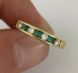 18ct Gold Princess Cut Emerald & Diamond Vintage Half Eternity Ring, 18k 750