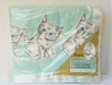 Vintage NOS Riegel Cotton Crib Baby Blanket NEW Aqua Cats Kittens 36x50