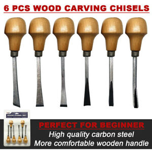 6 PCS Wood Carving Tools Wood working Gouges  Hand Chisel Gouges Set
