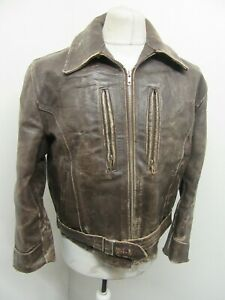 VINTAGE 1940's WW2 GERMAN DISTRESSED LEATHER CYCLIST JACKET SIZE M SHORT ARMS