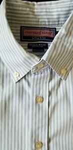 Vineyard Vines Boys Whale Shirt XL (20) Button Down Blue White Striped Cotton